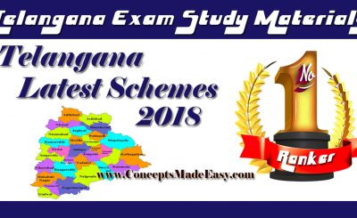 Telangana State Government Latest Schemes 2018 - TSPSC Exam Study Material
