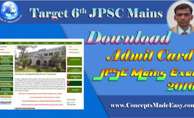 Download Admit Card of 6th JPSC Mains Examination 2016